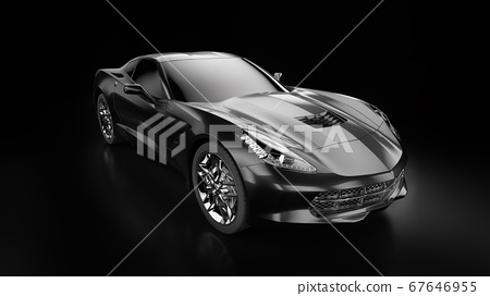 3d rendering of a modern black sedan car with studio light. 67646955