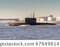 The diesel submarine project 877 Black hole passes near Kronstadt during the rehearsal of the naval parade. July 17, 2020. 67649614