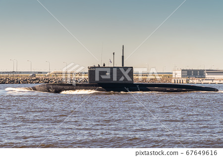 The diesel submarine project 877 Black hole passes near Kronstadt during the rehearsal of the naval parade. July 17, 2020. 67649616