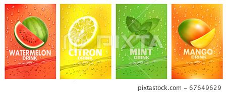 Set of labels with fruit drink. Fresh fruits juice 67649629