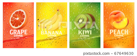 Set of labels with fruit drink.Fresh fruits juice 67649630