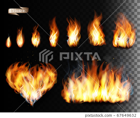 Collection of fire vectors - flames and a heart 67649632