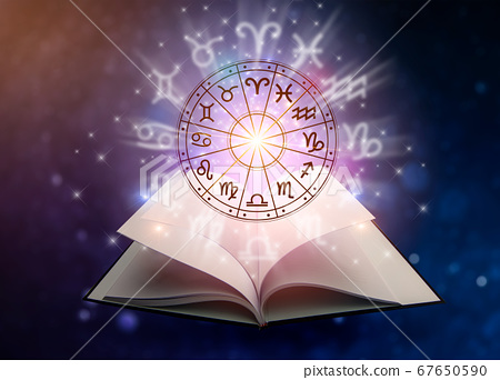 Zodiac signs inside of horoscope circle. Astrology in the sky with many stars and moons  astrology and horoscopes concept 67650590