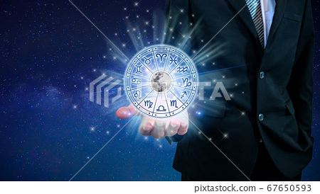 Zodiac signs inside of horoscope circle. Astrology in the sky with many stars and moons  astrology and horoscopes concept 67650593