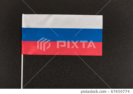 Flag of Russian Federation on black background. 67650774