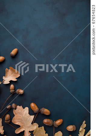 Fall floral design greeting card with acorns 67654823