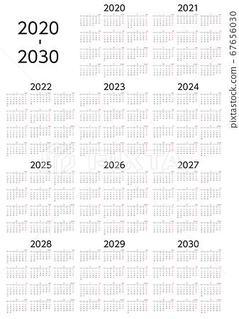 星期一至2020-2030 10年曆 67656030