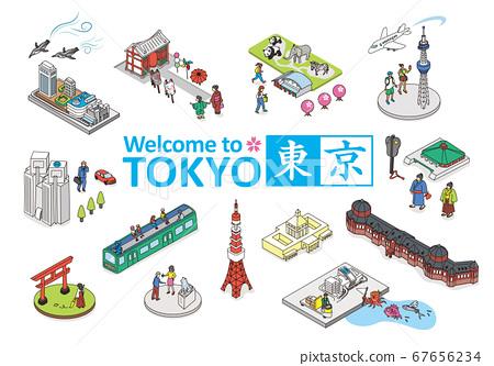 歡迎來到東京。旅遊勝地的例證圖像在東京。等距等距 67656234