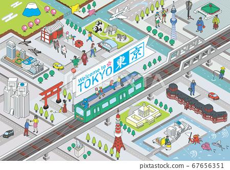 歡迎來到東京。旅遊勝地的例證圖像在東京。等距等距 67656351