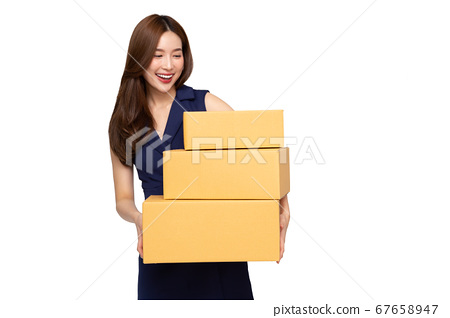 Young Asian woman holding parcel box isolated on white background 67658947