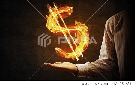 Dollar currency fire symbol 67659923