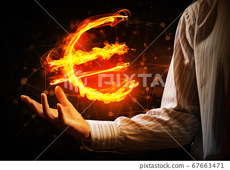 Euro currency fire symbol 67663471
