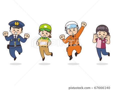 各種職業警察快遞救援人員便利店業務員 67666140