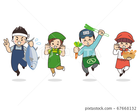 직업 여러가지 어부 슈퍼 점원 청과물 빵집 67668132