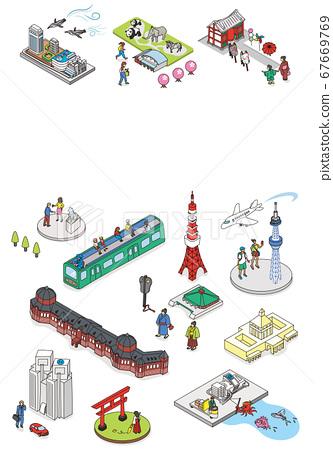 歡迎來到東京。旅遊勝地的例證圖像在東京。複製空間等距等距 67669769