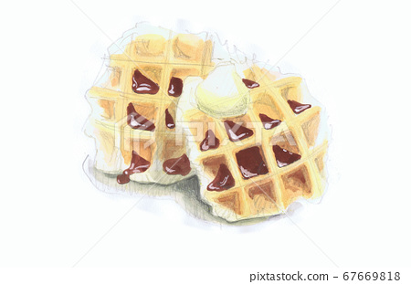 Watercolor waffle with fresh cream and chocolate 67669818