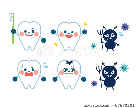 Tooth and bikin character illustration 67670281