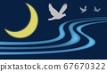 Crescent moon and three birds 67670322