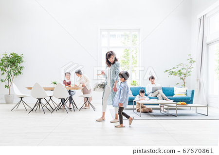 Three generation family, living room, two-family house 67670861