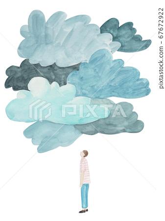 수채화 - 먹구름을 보는 사람 67672922