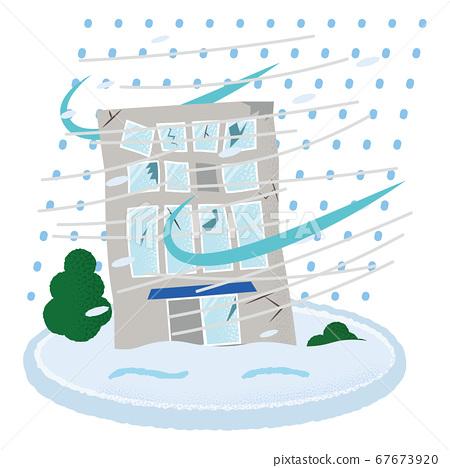遭受暴风雪的建筑物的矢量图 67673920