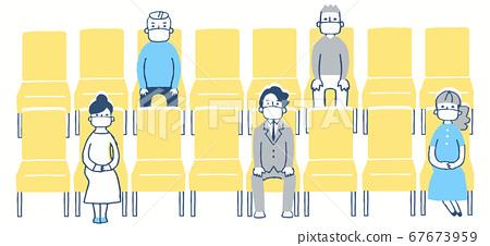 일정한 거리를두고 좌석에 앉아 사람들 67673959