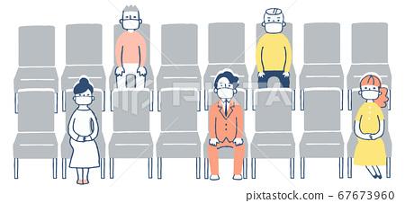 人們坐在座位上一定距離 67673960