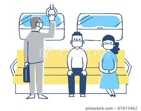 일정한 거리를두고 기차를 타고 사람들 67673962
