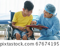 People with disabilities are consulting a doctor. 67674195