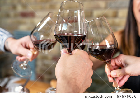 Celebration. Group of friends holding The Glasses Of Wine Making A Toast. 67676036