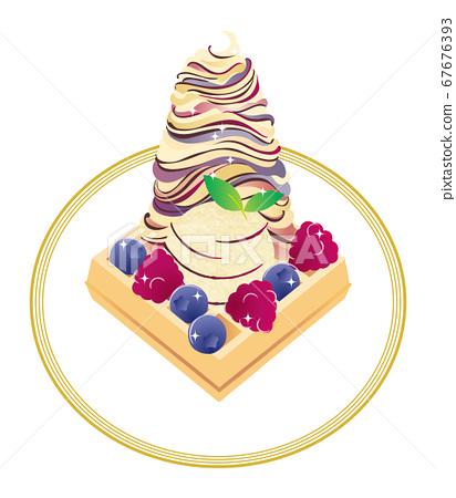 夏日清涼糖果_比利時華夫餅乾,冰淇淋,藍莓和覆盆子_插圖素材 67676393