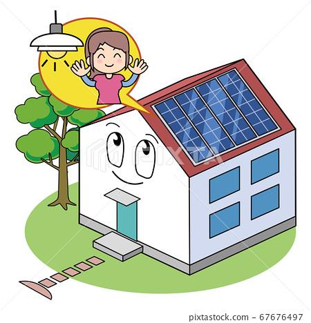 帶太陽能電池板的房子 67676497