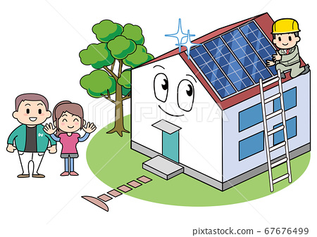 House with solar panels-installation work 67676499
