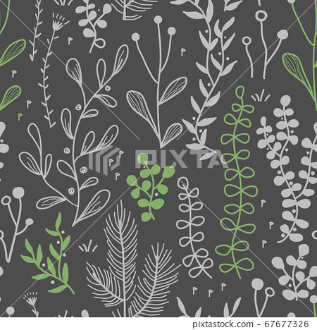 Vector seamless border with doodle forest and meadow plants. Hand drawn abstract background for textile, wallpapers, prints 67677326