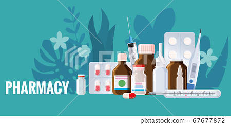 Pharmacy template frame with blister, spray, thermometer, jars, pills, drugs, medical bottles. Drugstore vector cartoon, flat illustration. Medicine and healthcare banner, poster background vector 67677872