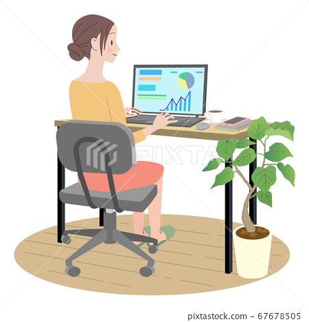 一個女人在家中使用一台個人計算機 67678505