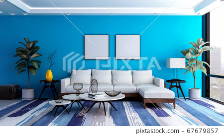 Modern and luxury blue living room interior background with blank photo frame for mock up, 3D Rendering 67679857