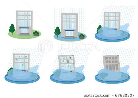矢量圖集的建築物遭受洪水破壞 67680507