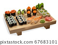 Sushi set on a wooden board 67683101