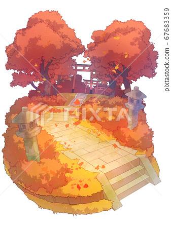 小插圖背景秋天的落葉方法 67683359
