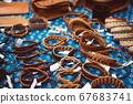 Leather bracelets at market 67683741