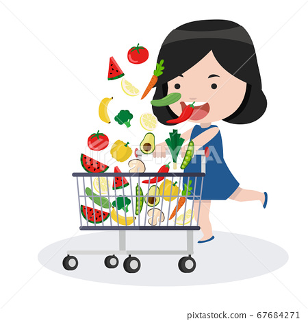 girl with shopping cart with vegetables 67684271