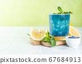 Blue matcha lemonade on white background 67684913