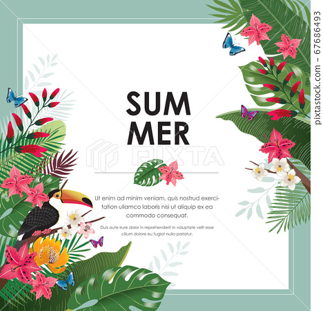 Vector illustration frame of tropical flowers in summer with birds and butterflies for wedding, anniversary, birthday party. Design for banner, poster, card, invitation and scrapbook 67686493