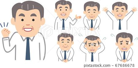 Senior man in shirt and tie Upper body pose set 67686678
