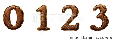 Set of numbers 0, 1, 2, 3 made of leather. 3D render font with skin texture isolated on white background. 67687910