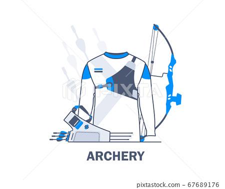 Archery Sports Uniform,Archery equipment,flat design icon vector illustration 67689176