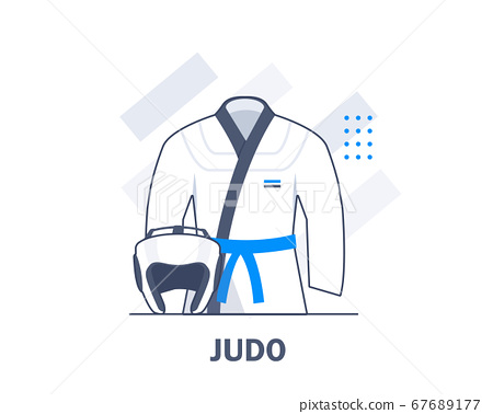 Judo Sports Uniforms and Equipment,flat design icon vector illustration 67689177