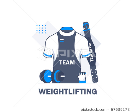 Weightlifting equipment and equipment,flat design icon vector illustration 67689178