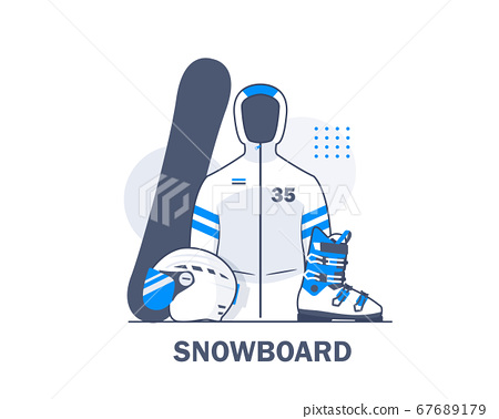 Snowboard set and equipment,flat design icon vector illustration 67689179